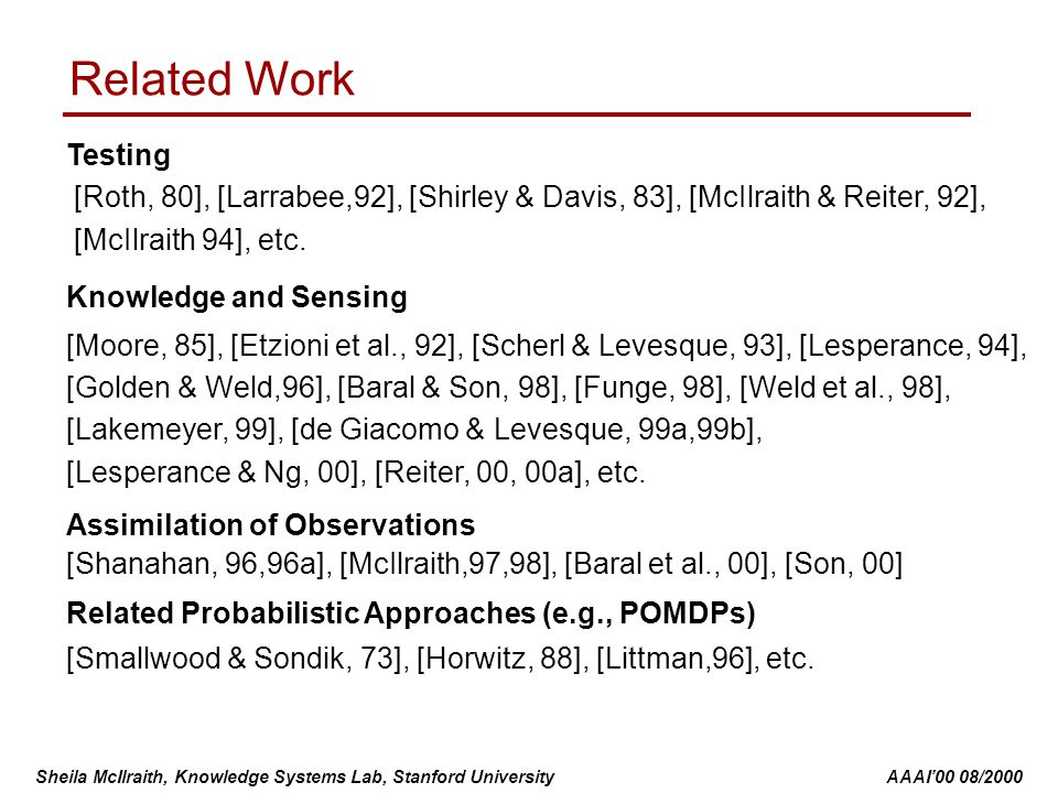 Sheila McIlraith, Knowledge Systems Lab, Stanford University AAAI'00 08/2000 Testing [Roth, 80], [Larrabee,92], [Shirley & Davis, 83], [McIlraith & Re