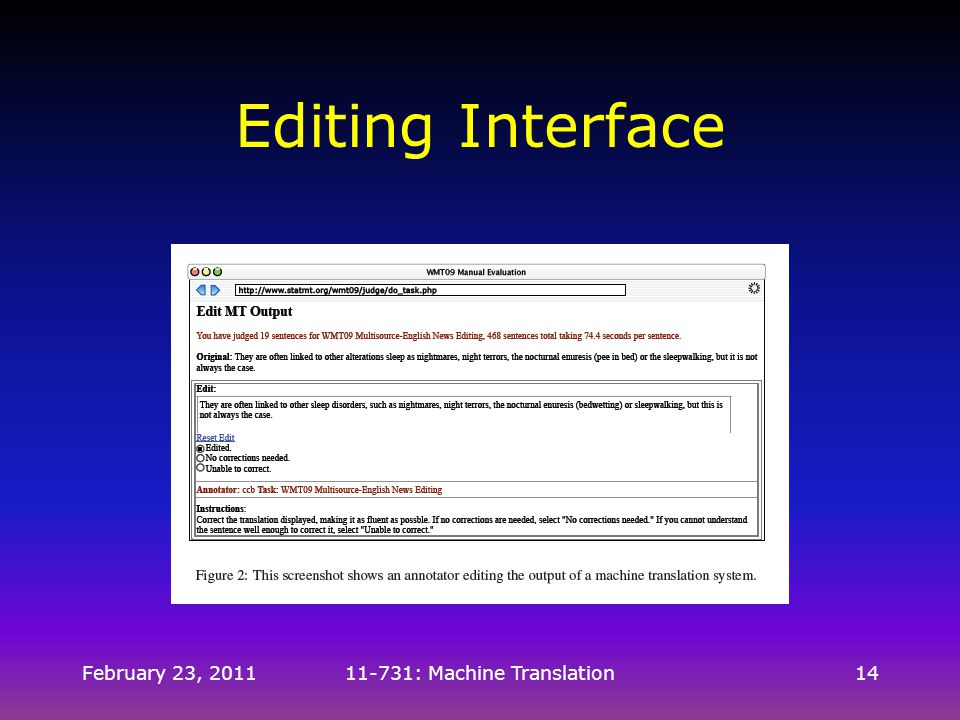 February 23, 201111-731: Machine Translation14 Editing Interface