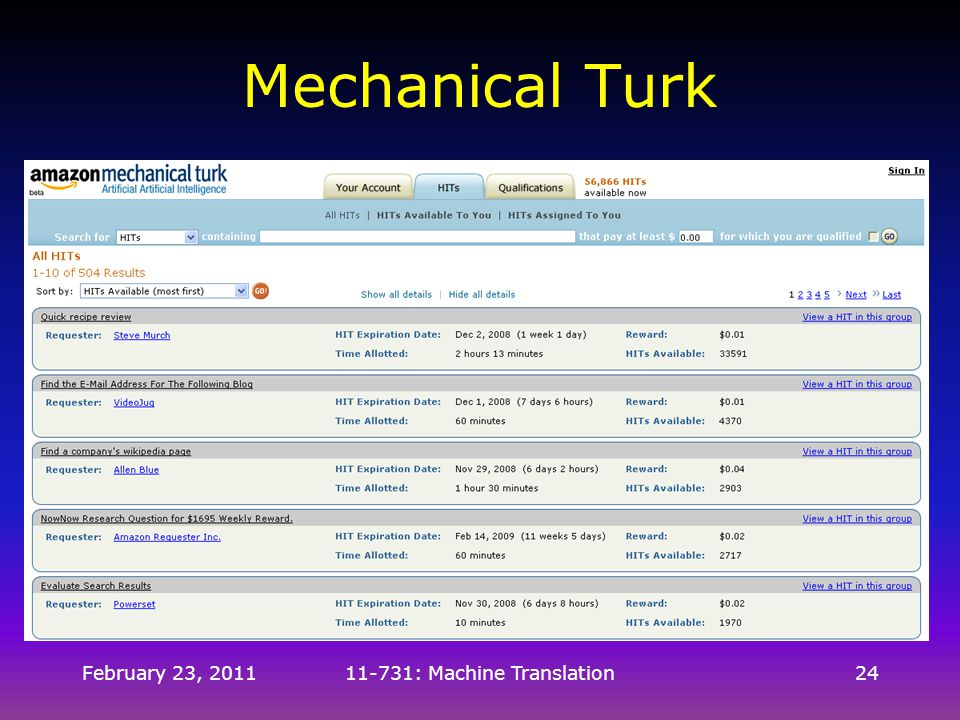 February 23, 201111-731: Machine Translation24 Mechanical Turk