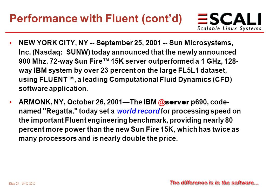 Slide 23 - 10.05.2015 The difference is in the software...