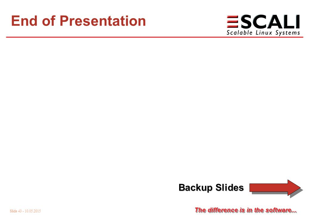 Slide 43 - 10.05.2015 The difference is in the software... End of Presentation Backup Slides