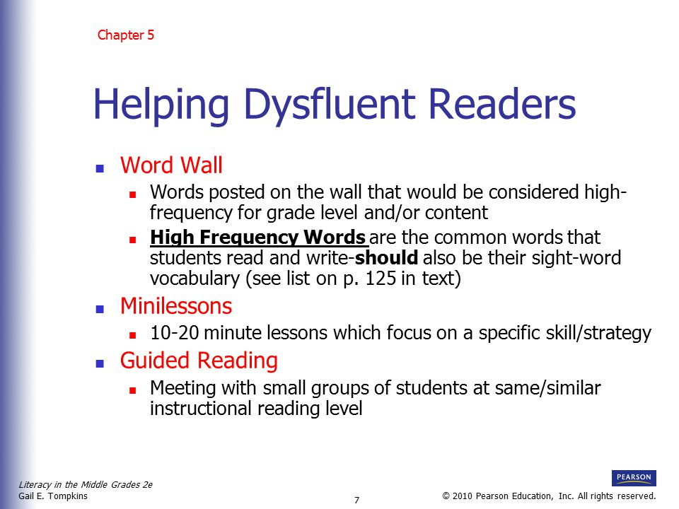 Literacy in the Middle Grades 2e Gail E.Tompkins 8 © 2010 Pearson Education, Inc.