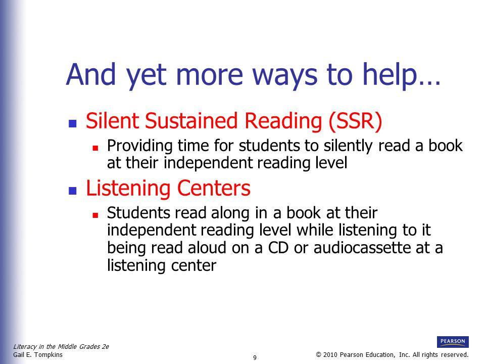 Literacy in the Middle Grades 2e Gail E.Tompkins 10 © 2010 Pearson Education, Inc.