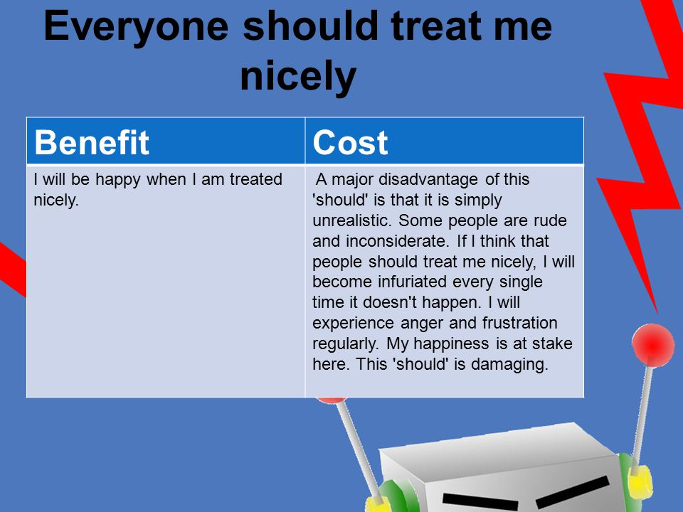 Everyone should treat me nicely BenefitCost I will be happy when I am treated nicely. A major disadvantage of this 'should' is that it is simply unrea