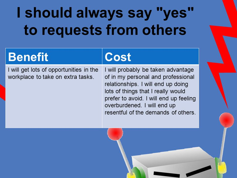 I should always say yes to requests from others BenefitCost I will get lots of opportunities in the workplace to take on extra tasks.
