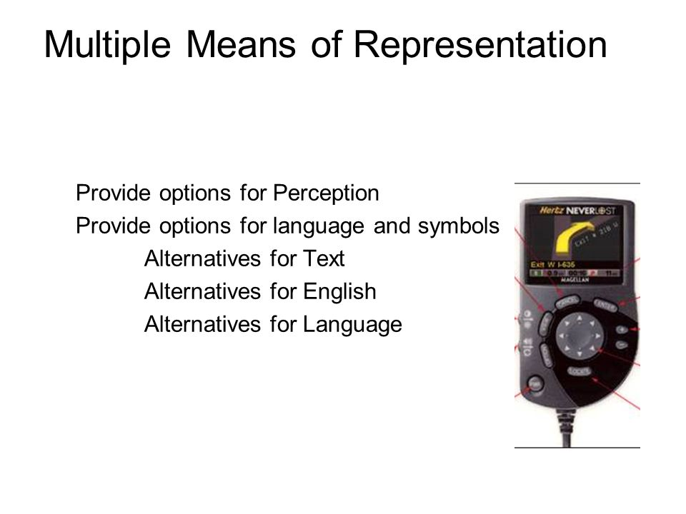Multiple Means of Representation Provide options for Perception Provide options for language and symbols Alternatives for Text Alternatives for Englis