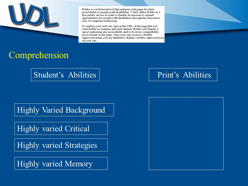 Highly Varied Background Student's Abilities Print's Abilities Highly varied Critical Comprehension Highly varied Strategies Highly varied Memory
