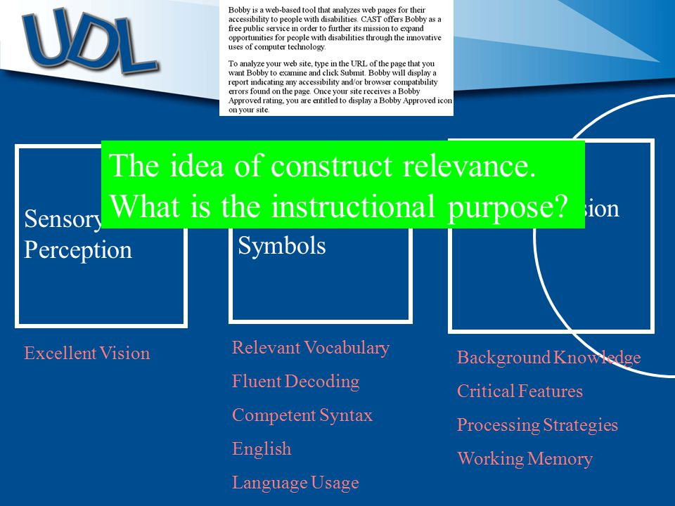 Sensory Perception Language and Symbols Comprehension Excellent Vision Relevant Vocabulary Fluent Decoding Competent Syntax English Language Usage Background Knowledge Critical Features Processing Strategies Working Memory The idea of construct relevance.