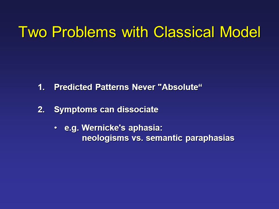 Two Problems with Classical Model 1.Predicted Patterns Never Absolute 2.Symptoms can dissociate e.g.