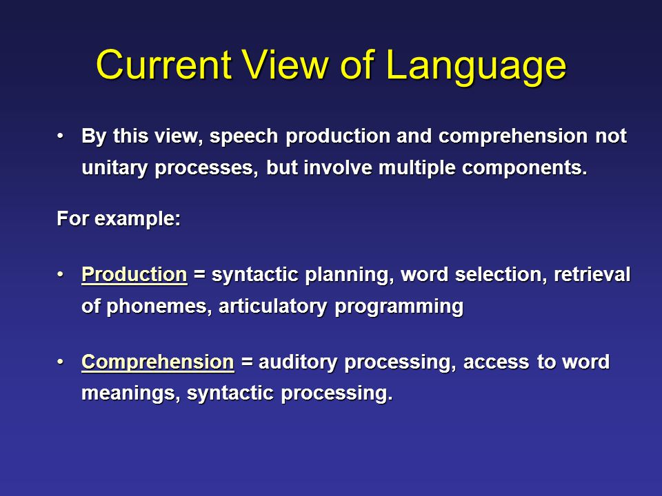 Current View of Language By this view, speech production and comprehension not unitary processes, but involve multiple components.By this view, speech production and comprehension not unitary processes, but involve multiple components.