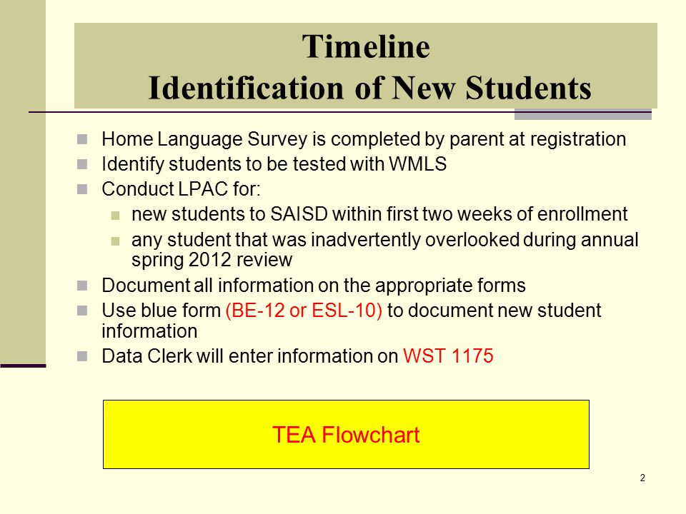 2 Timeline Identification of New Students Home Language Survey is completed by parent at registration Identify students to be tested with WMLS Conduct LPAC for: new students to SAISD within first two weeks of enrollment any student that was inadvertently overlooked during annual spring 2012 review Document all information on the appropriate forms Use blue form (BE-12 or ESL-10) to document new student information Data Clerk will enter information on WST 1175 TEA Flowchart