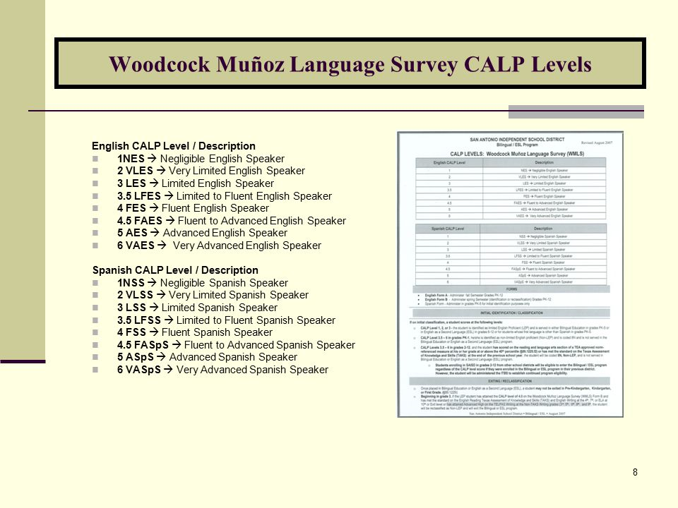8 Woodcock Muñoz Language Survey CALP Levels English CALP Level / Description 1NES  Negligible English Speaker 2 VLES  Very Limited English Speaker