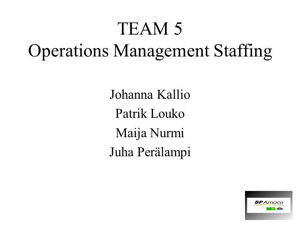 TEAM 5 Operations Management Staffing Johanna Kallio Patrik Louko Maija Nurmi Juha Perälampi