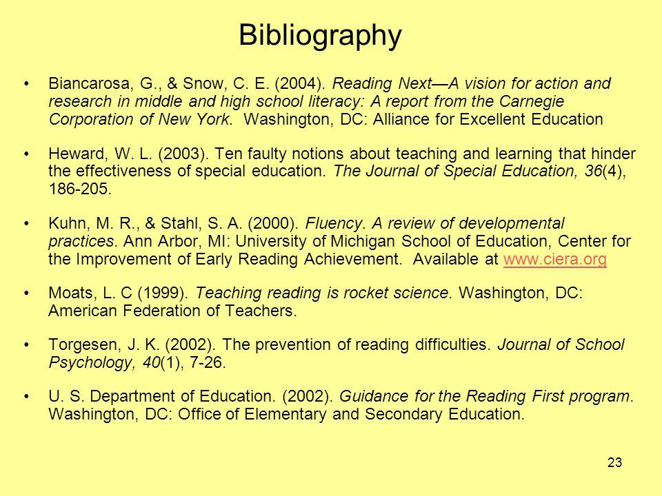 23 Bibliography Biancarosa, G., & Snow, C. E. (2004).