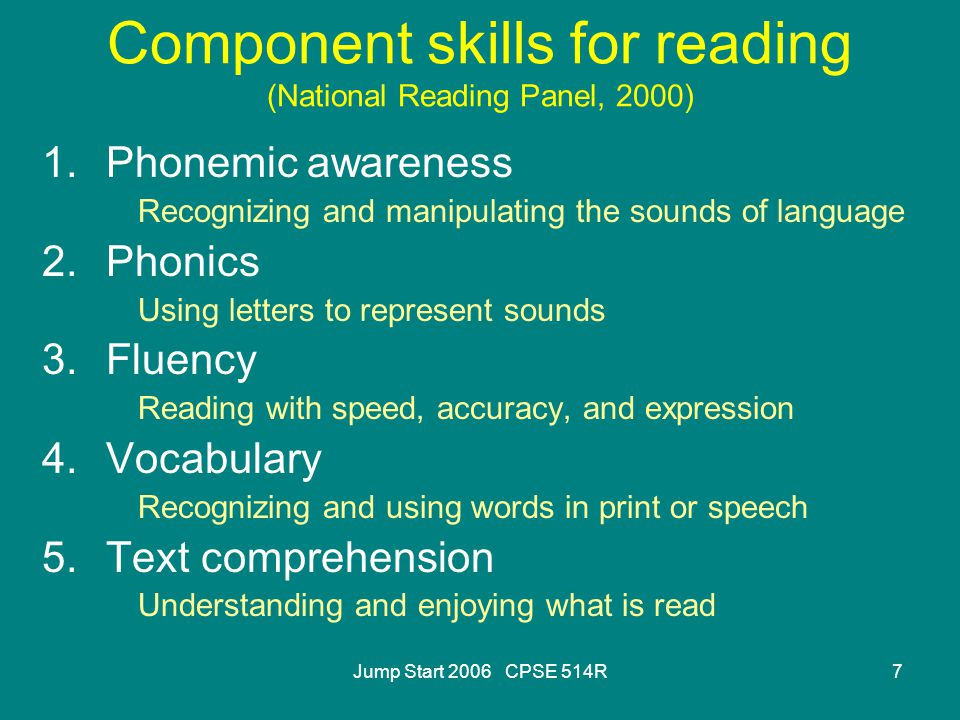 7 Component skills for reading (National Reading Panel, 2000) 1.Phonemic awareness Recognizing and manipulating the sounds of language 2.Phonics Using letters to represent sounds 3.Fluency Reading with speed, accuracy, and expression 4.Vocabulary Recognizing and using words in print or speech 5.Text comprehension Understanding and enjoying what is read