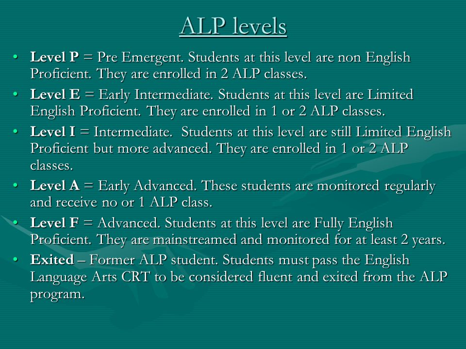 ALP levels Level P = Pre Emergent. Students at this level are non English Proficient.