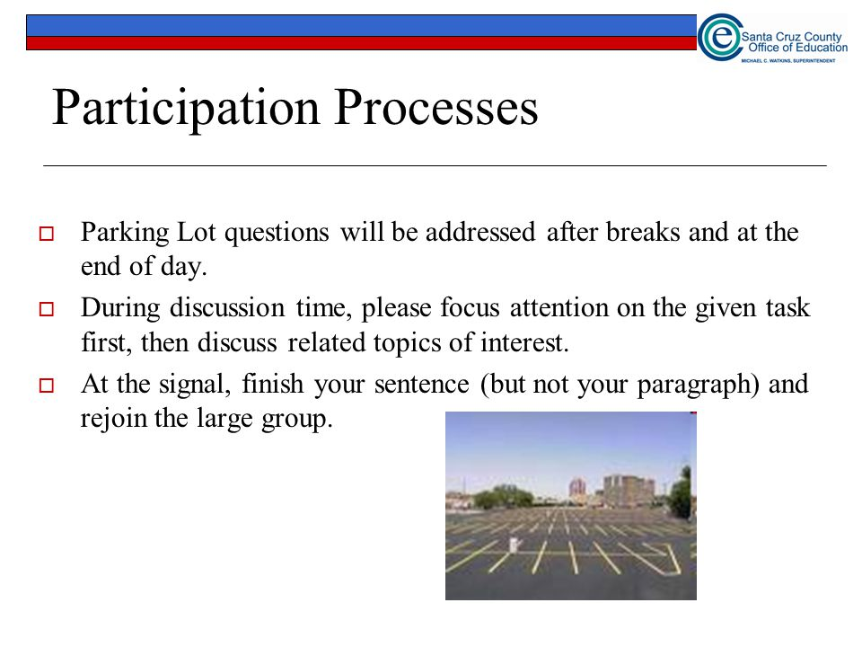 44 Participation Processes  Parking Lot questions will be addressed after breaks and at the end of day.  During discussion time, please focus attent