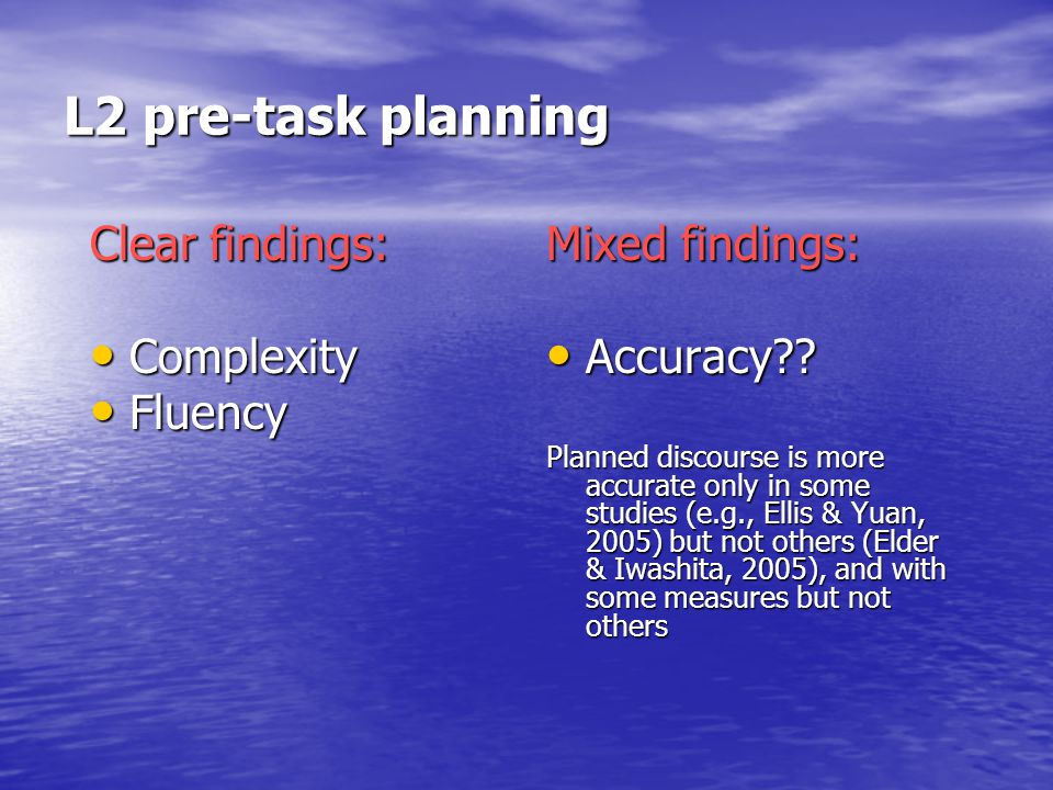 L2 pre-task planning Clear findings: Complexity Complexity Fluency Fluency Mixed findings: Accuracy .