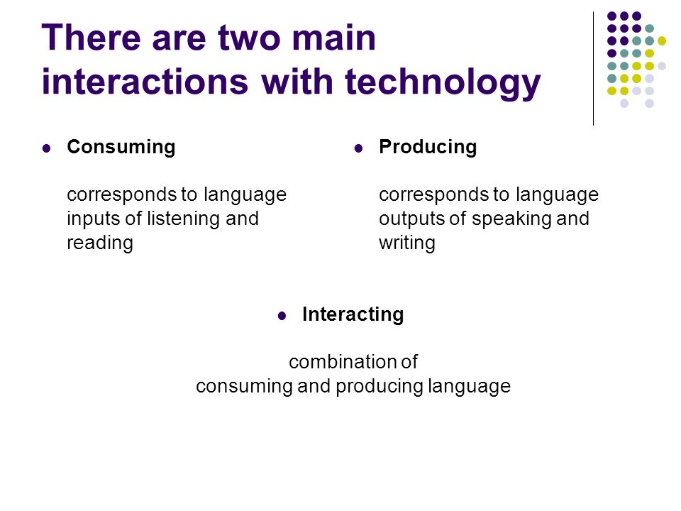 There are two main interactions with technology Consuming corresponds to language inputs of listening and reading Producing corresponds to language ou