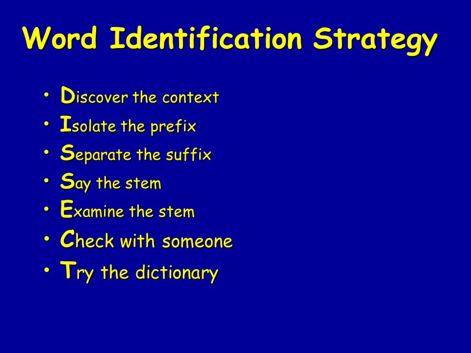 Word Identification Strategy D iscover the contextD iscover the context I solate the prefixI solate the prefix S eparate the suffixS eparate the suffi