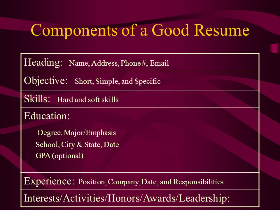 Objective Objectives are theme statements that will help organize the rest of the resume.