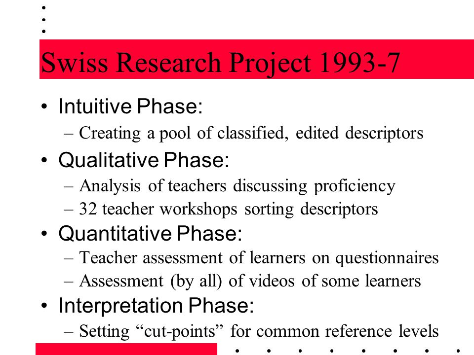Swiss Research Project 1993-7 Intuitive Phase: –Creating a pool of classified, edited descriptors Qualitative Phase: –Analysis of teachers discussing