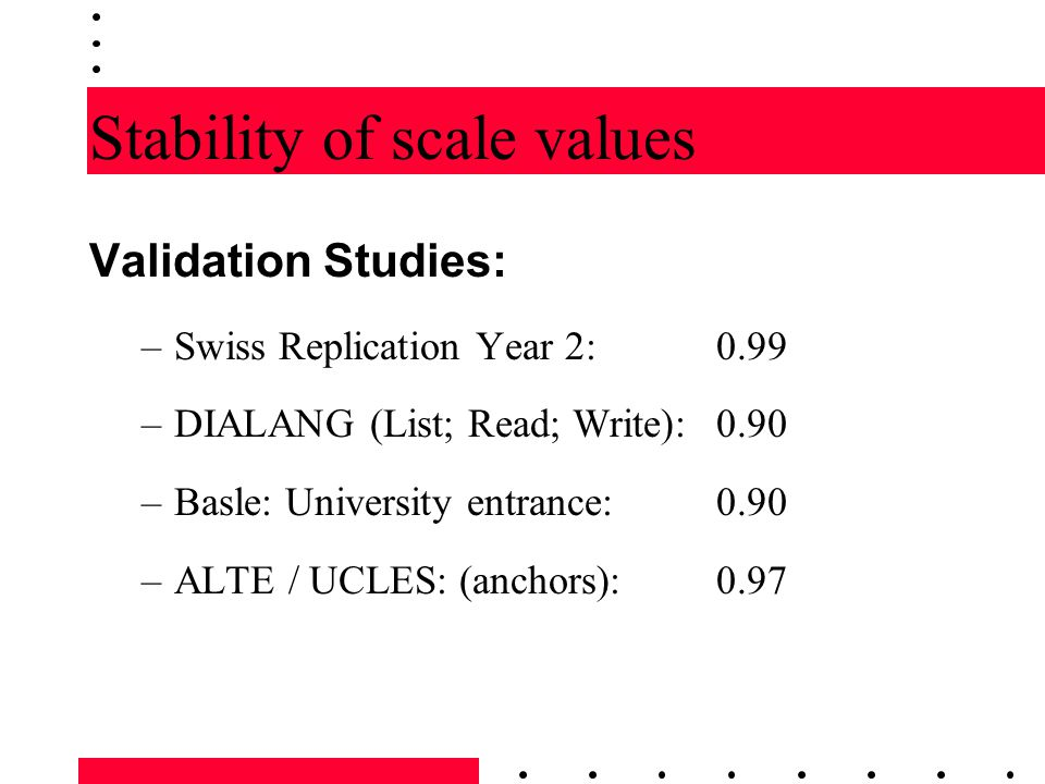 Stability of scale values Validation Studies: –Swiss Replication Year 2: 0.99 –DIALANG (List; Read; Write): 0.90 –Basle: University entrance: 0.90 –AL