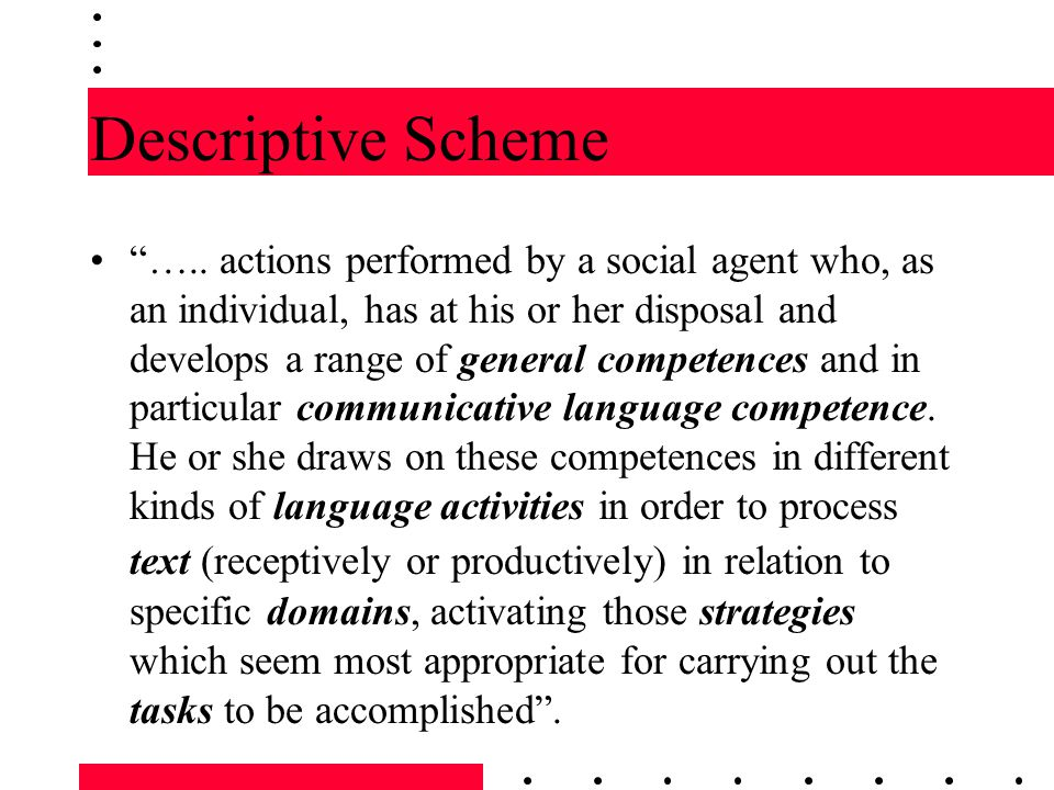"Descriptive Scheme ""….. actions performed by a social agent who, as an individual, has at his or her disposal and develops a range of general competen"