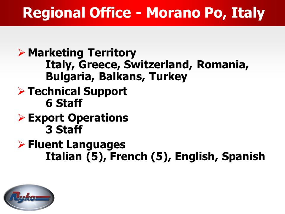 Regional Office - Goes, Netherlands  Regional Manager Europe (Expect RYKO Italia area), Middle East  Technical Support  Fluent Languages Dutch, Fre