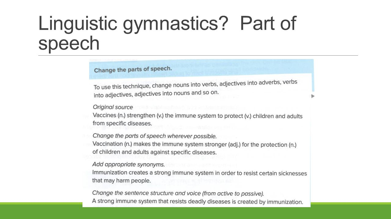 Linguistic gymnastics Part of speech