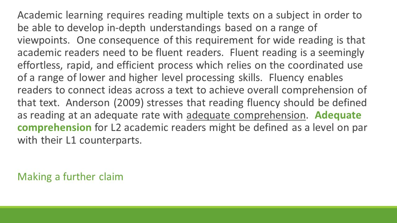 Academic learning requires reading multiple texts on a subject in order to be able to develop in-depth understandings based on a range of viewpoints.
