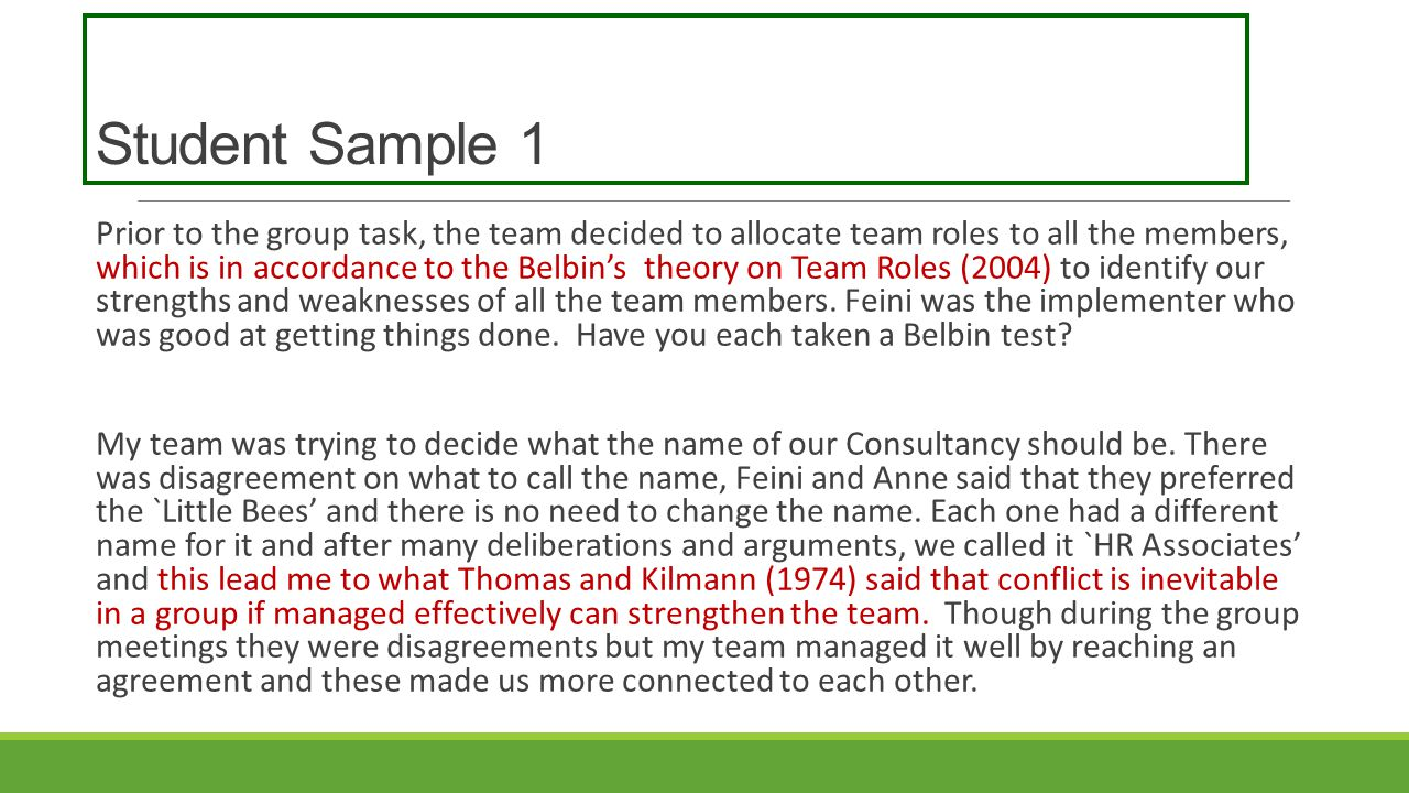 Student Sample 1 Prior to the group task, the team decided to allocate team roles to all the members, which is in accordance to the Belbin's theory on Team Roles (2004) to identify our strengths and weaknesses of all the team members.