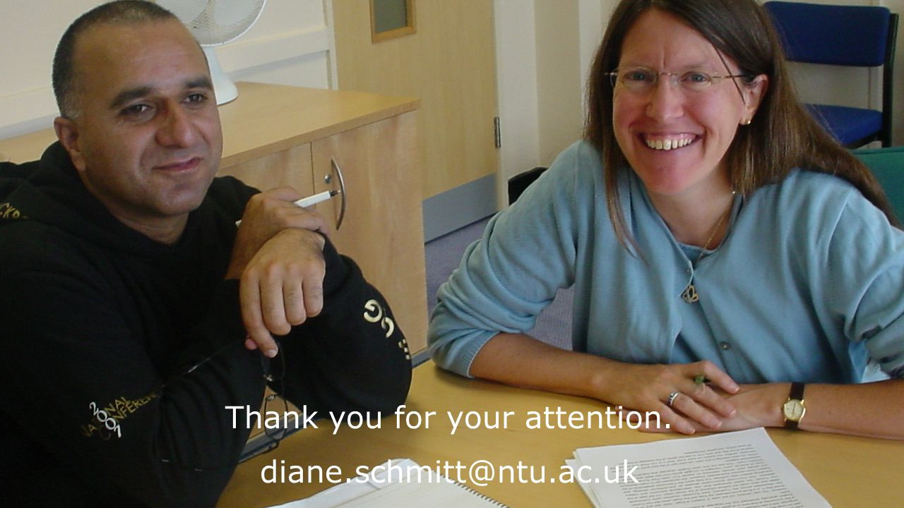 Thank you for your attention. diane.schmitt@ntu.ac.uk