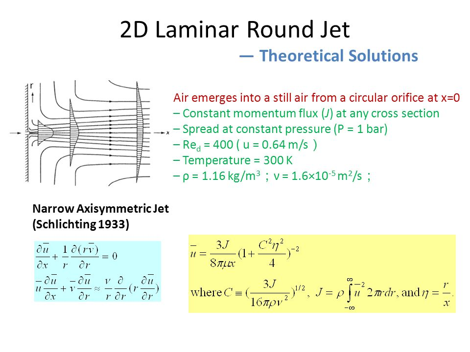 2D Laminar Round Jet ― Theoretical Solutions Air emerges into a still air from a circular orifice at x=0 – Constant momentum flux (J) at any cross section – Spread at constant pressure (P = 1 bar) – Re d = 400 ( u = 0.64 m/s ) – Temperature = 300 K – ρ = 1.16 kg/m 3 ; ν = 1.6×10 -5 m 2 /s ; Narrow Axisymmetric Jet (Schlichting 1933) r