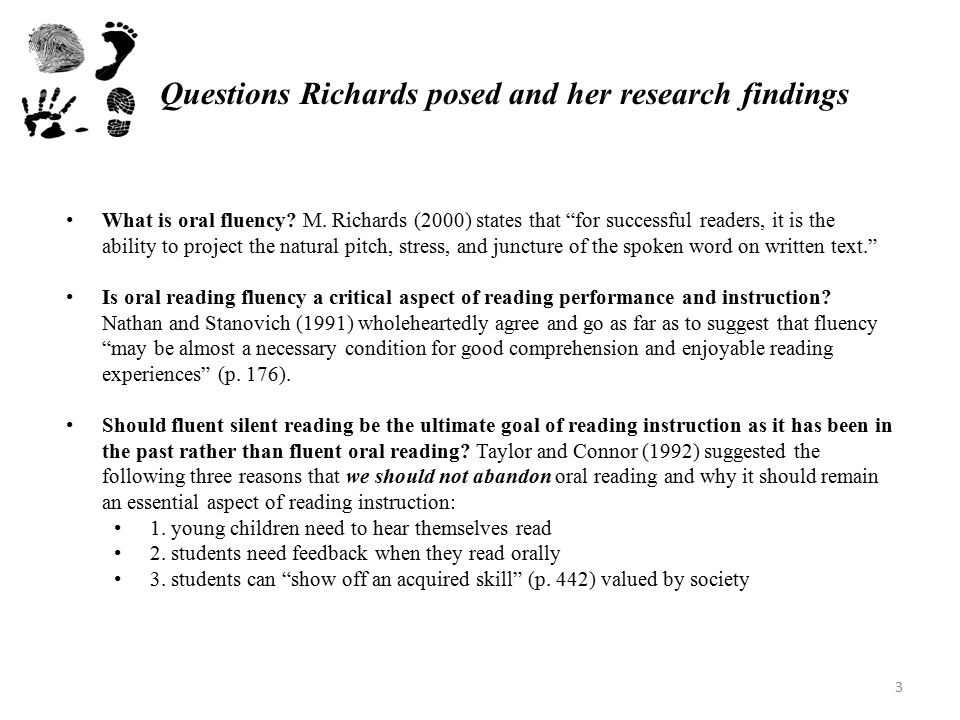 Questions Richards posed and her research findings What is oral fluency.