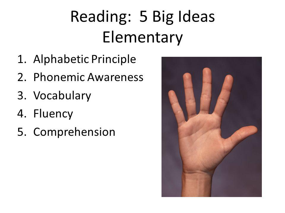 Reading: 5 Big Ideas Elementary 1.Alphabetic Principle 2.Phonemic Awareness 3.Vocabulary 4.Fluency 5.Comprehension