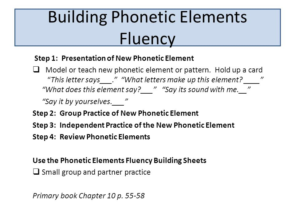 """Step 1: Presentation of New Phonetic Element  Model or teach new phonetic element or pattern. Hold up a card """"This letter says___."""" """"What letters mak"""