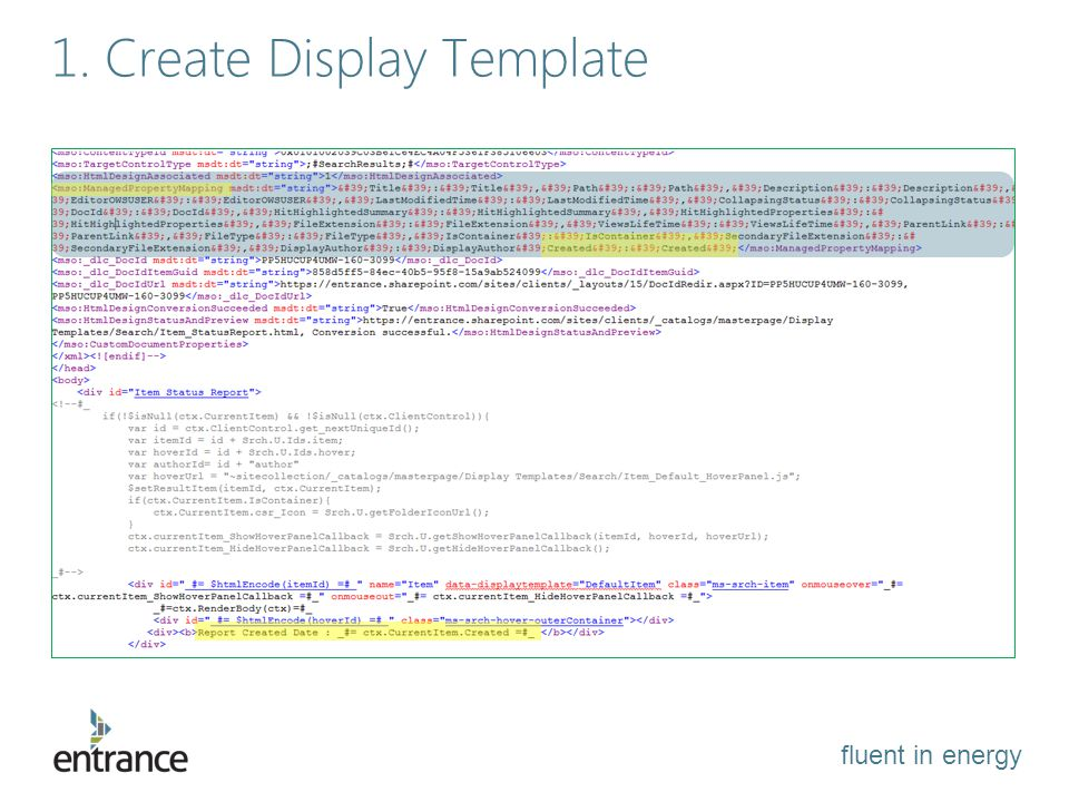fluent in energy 1. Create Display Template
