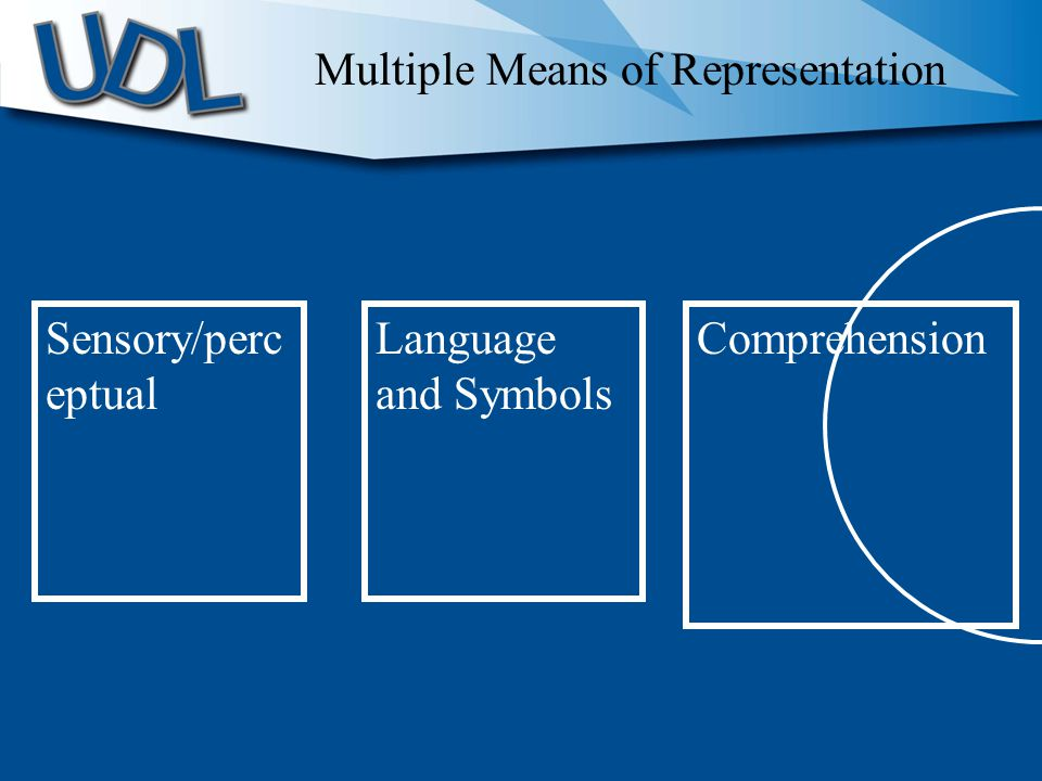 Sensory/perc eptual Language and Symbols Comprehension Multiple Means of Representation