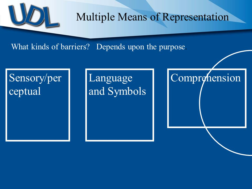 Sensory/per ceptual Language and Symbols Comprehension Multiple Means of Representation What kinds of barriers.