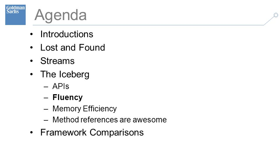 TECHNOLOGY DIVISION 19 Agenda Introductions Lost and Found Streams The Iceberg –APIs –Fluency –Memory Efficiency –Method references are awesome Framework Comparisons