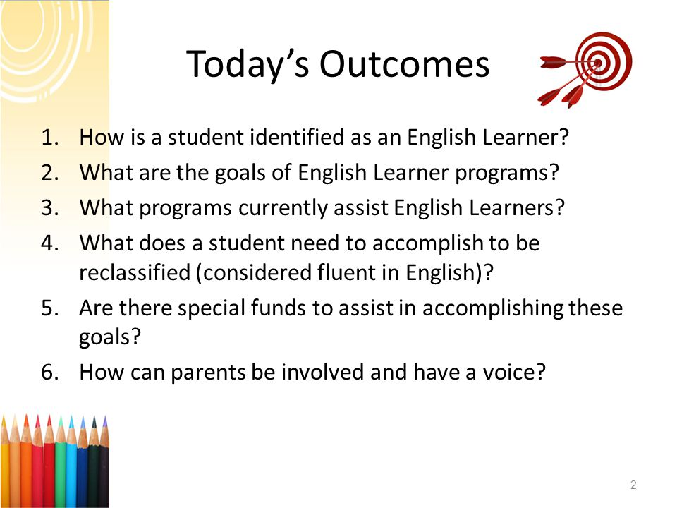 Today's Outcomes 1.How is a student identified as an English Learner.