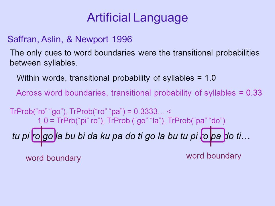 Artificial Language The only cues to word boundaries were the transitional probabilities between syllables. Within words, transitional probability of