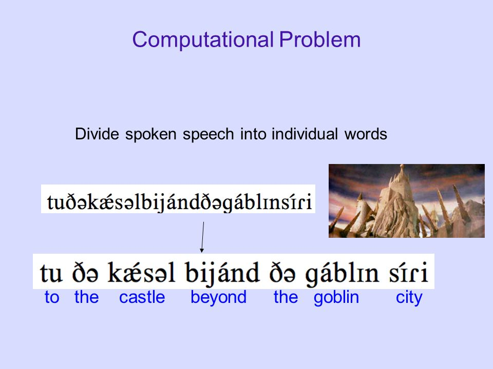 Computational Problem Divide spoken speech into individual words to the castle beyond the goblin city