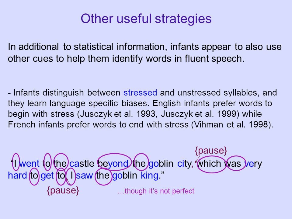 Other useful strategies In additional to statistical information, infants appear to also use other cues to help them identify words in fluent speech.