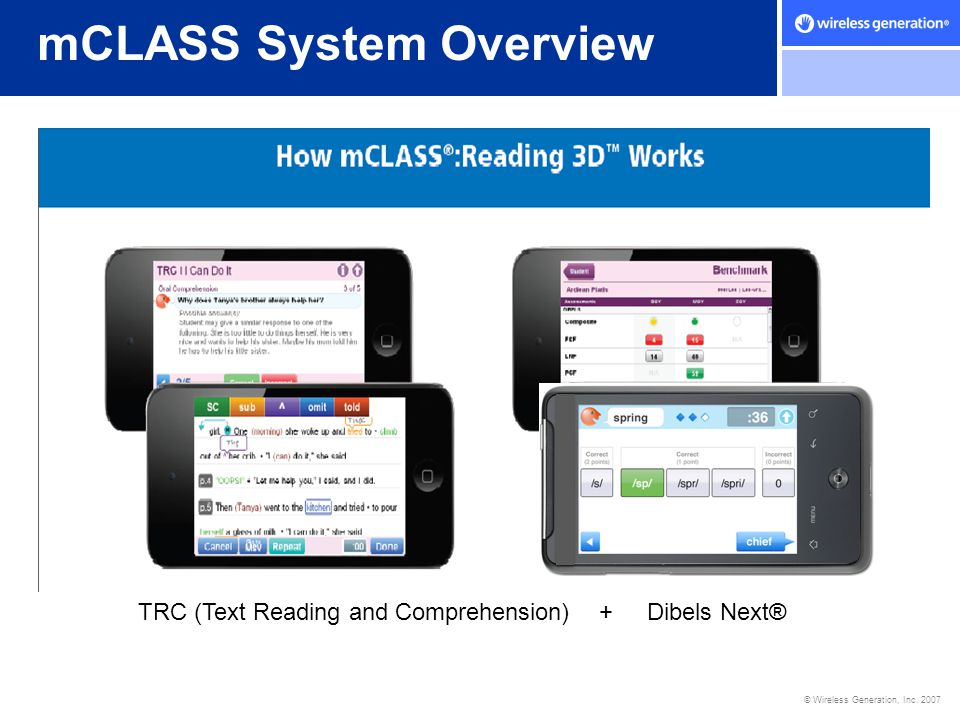 © Wireless Generation, Inc. 2007 mCLASS System Overview TRC (Text Reading and Comprehension) + Dibels Next®