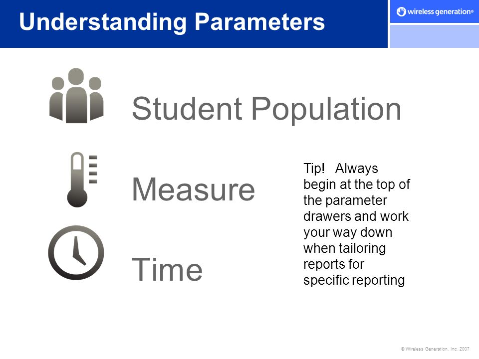 © Wireless Generation, Inc. 2007 Student Population Measure Time Understanding Parameters Tip! Always begin at the top of the parameter drawers and wo