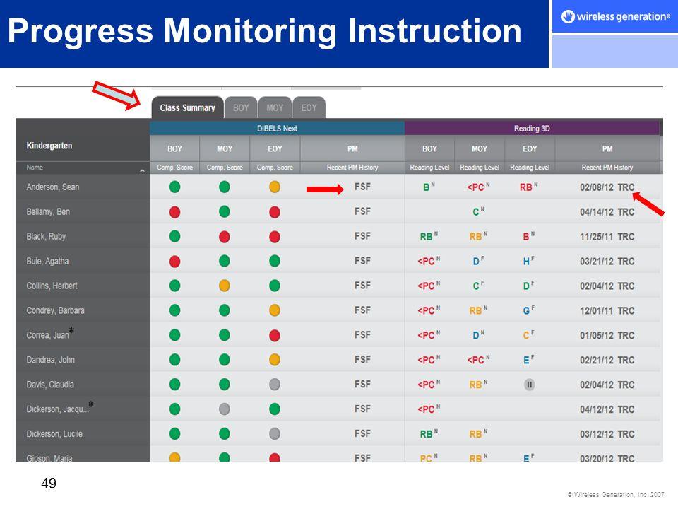 © Wireless Generation, Inc. 2007 49 Progress Monitoring Instruction