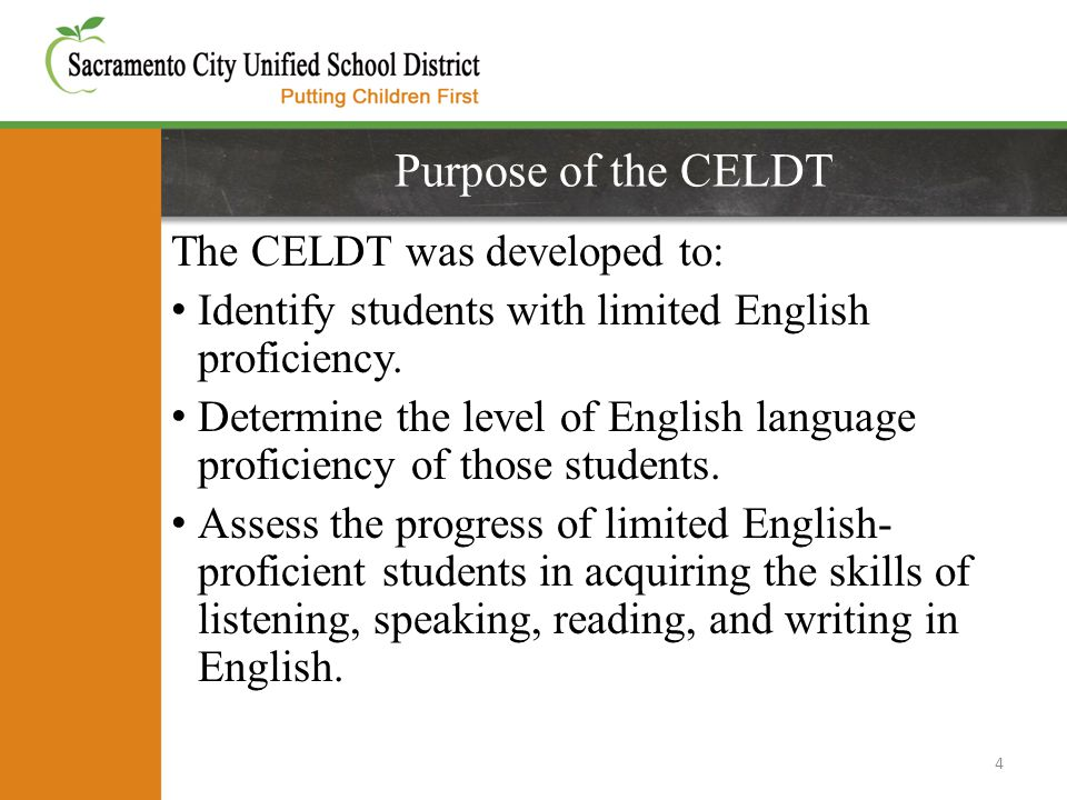 Purpose of the CELDT The CELDT was developed to: Identify students with limited English proficiency.