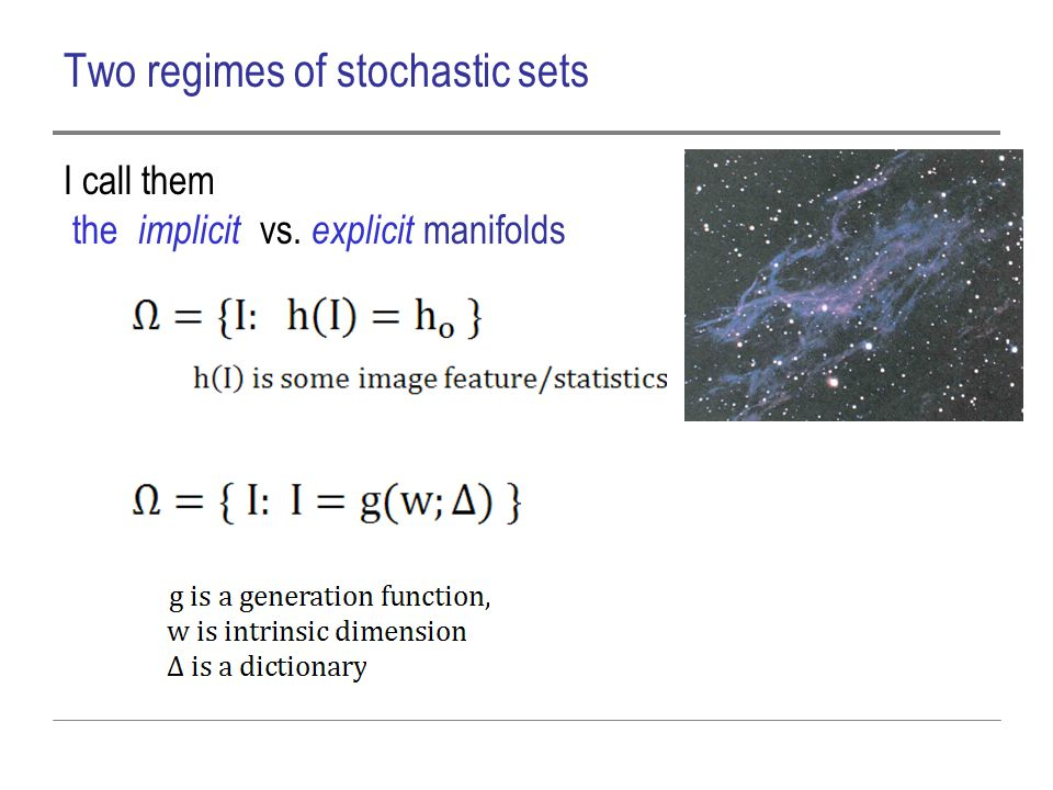 Two regimes of stochastic sets I call them the implicit vs. explicit manifolds